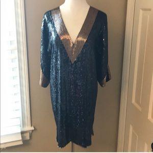 Foley + Corinna Black Sequin Shift Dress